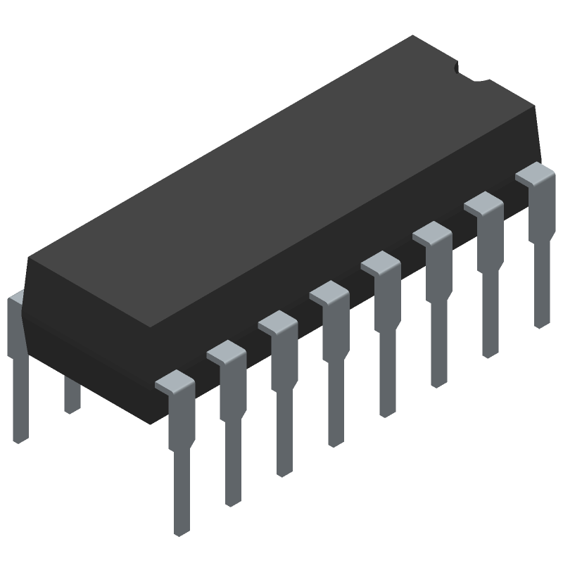 SN74HC595N - Texas Instruments - 3D model - Dual-In-Line Packages - N (R-PDIP-T16)